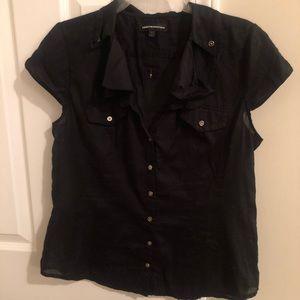 Express black short sleeve button up shirt